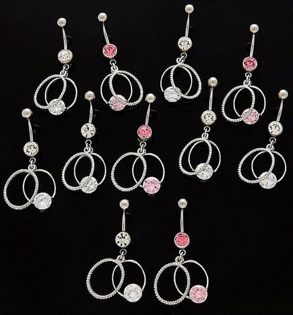 5 Cz Dangle Belly Button Rings Braided Circle 14g Wholesale Gem Fancy Navel 817