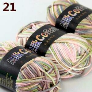 AIP-New-3Skeinsx50g-Soft-DK-Baby-Cotton-Crochet-Yarn-Hand-Wool-Scarf-Knitting-21