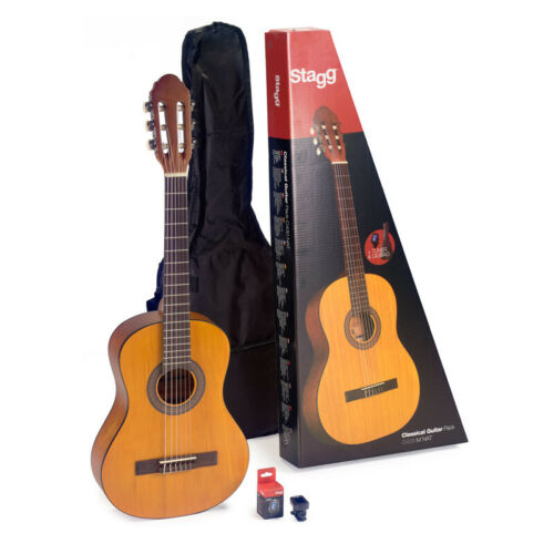 NEW Stagg C430 3//4 Size Classical Guitar w// Bag /& Tuner Natural