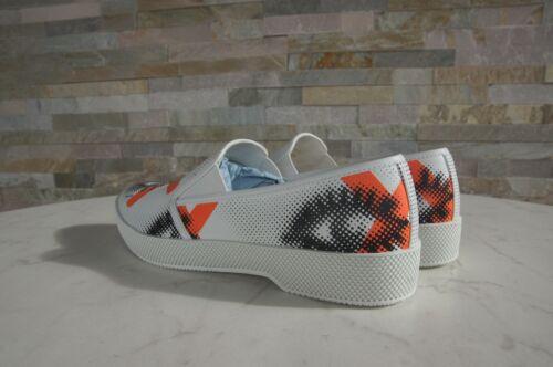 Prada tamaño 38.5 zapatillas slip ons zapatos 1S592G Bianco Arancio nuevo EIA antes 490 €