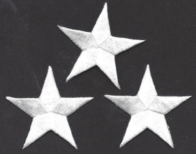"STARS, WHITE  1 5/8"" STARS (3 Pc)-Iron On Embroidered Applique/Astrology"