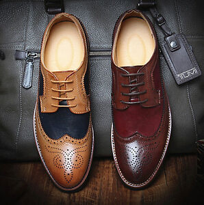 Retro Mens Brogue Lace Up Wingtip carved Casual Dress Formal Oxford casual Shoes