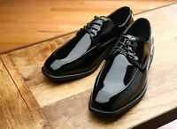 5th Avenue Modified Square Toe W/top Stitching Black Lace Up Patent Tuxedo Shoes
