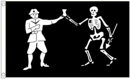 Pirate Black Bart Roberts /& Skeleton 5/'x3/' Flag