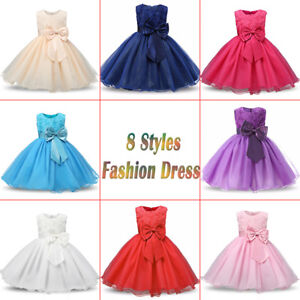 65ed2cf81 Girl Bridesmaid Dress Baby Flower Kids Party Rose Bow Wedding ...