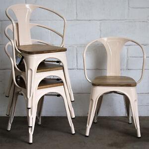Set Of 4 Cream Metal Industrial Dining Chair Kitchen Bistro Cafe