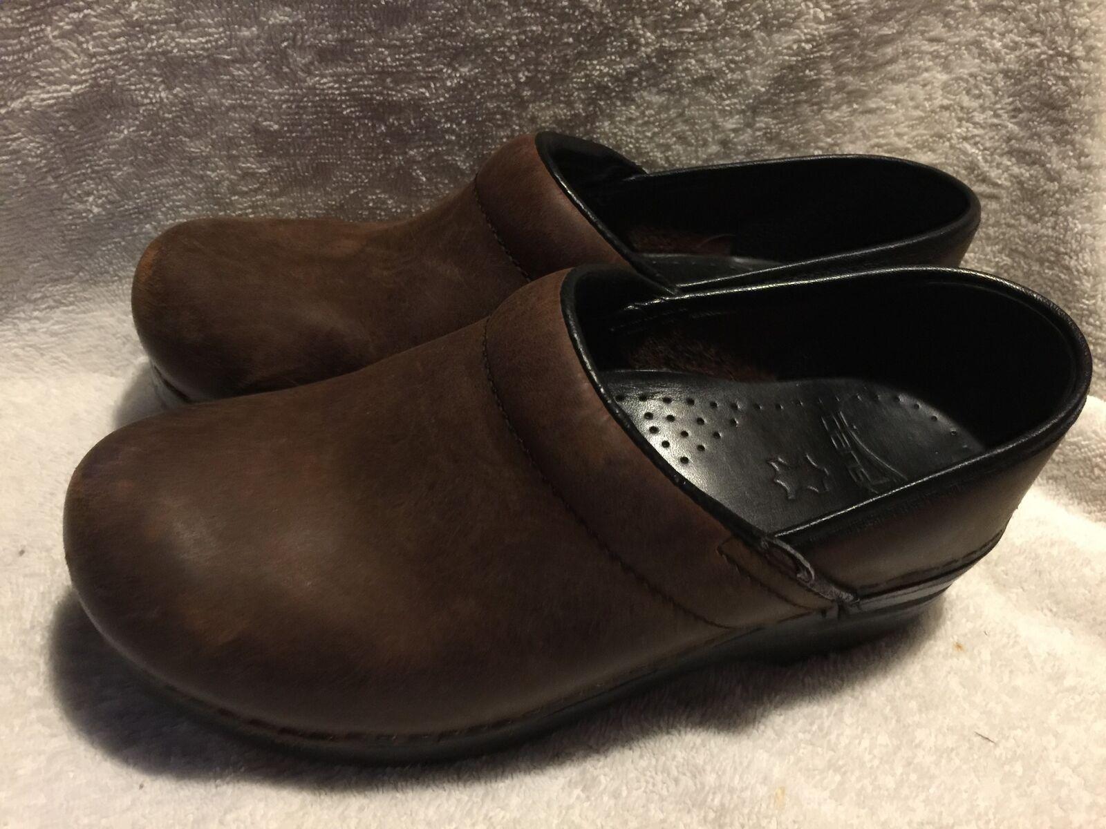 Used Worn Dansko Womens Clogs Loafers Euro Sz 37 USA sz 6.5 Brown Leather