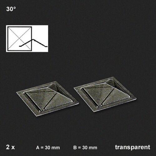 1,88€//Stück Oberlichter Pyramide 30° transparent Vivak 2 Stück 30 x 30 mm