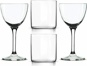 14-oz-Double-Old-Fashioned-Glasses-2-Nick-amp-Nora-Martini-Glasses-2-Set-of-4