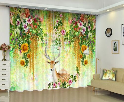 3D Sika Deer Flowers Leaf Printing Window Curtains Mural Blockout Drapes Fabric