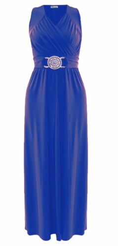 LADIES WOMENS PARTY BUCKLE FULL LENGTH MAXI COCKTAIL DRESS 8-26 UK SIZE