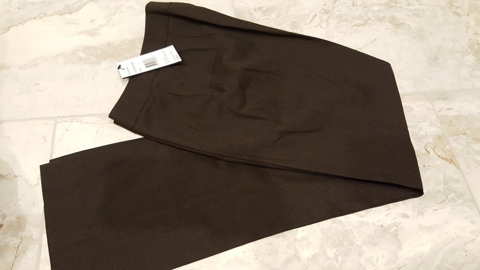 Lafayette 148 Womens Dress Pants Straight Leg Thin Brown Wool Size 2 NWT 328