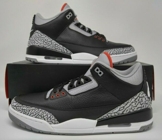 buy online 84014 be5fb 2018 Nike Air Jordan Retro III 3 OG Black Cement Grey Fire Red White 854262-