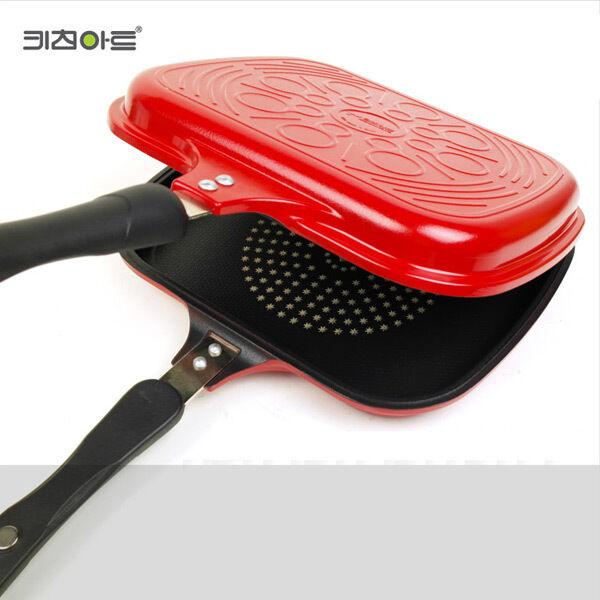 Cocina-Arte de doble cara estándar rojo Pan Antiadherente Hecho En Corea 11.4