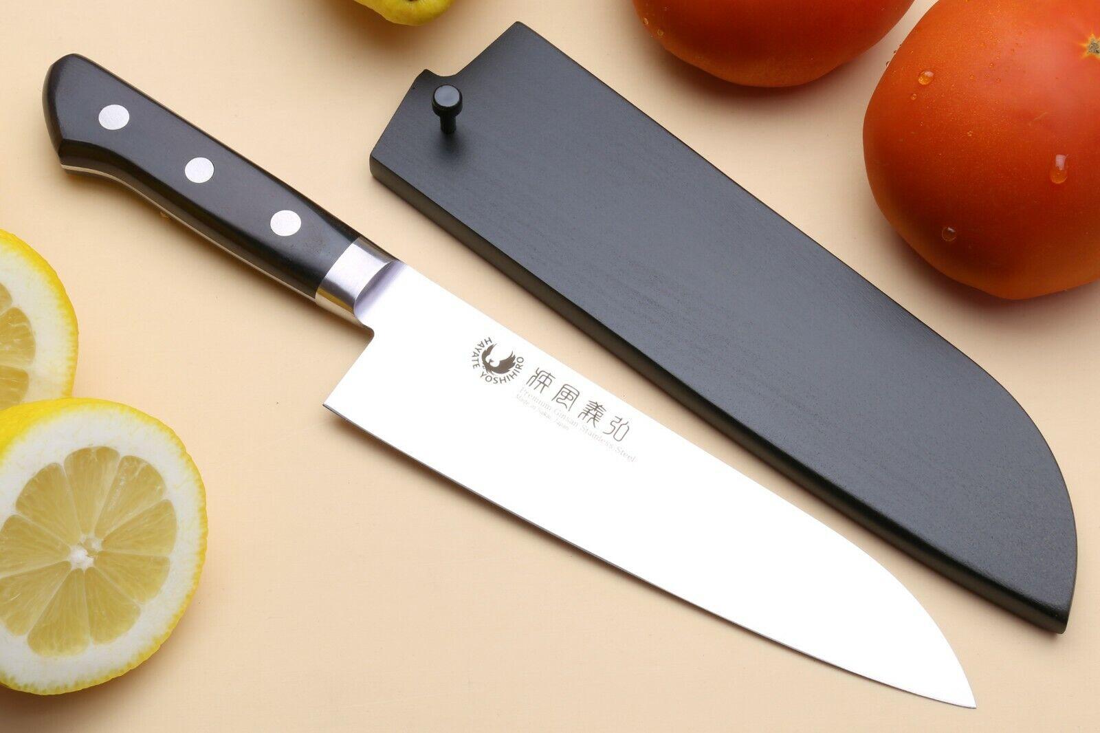 Yoshihiro Ginsan-Ko Carbone élevée antitache Santoku chef japonais couteau