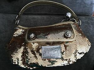 Authentic Coach Poppy Groovy Sequins Hobo Hand Bag Purse 15381 Gold ... 6d6c8201ad