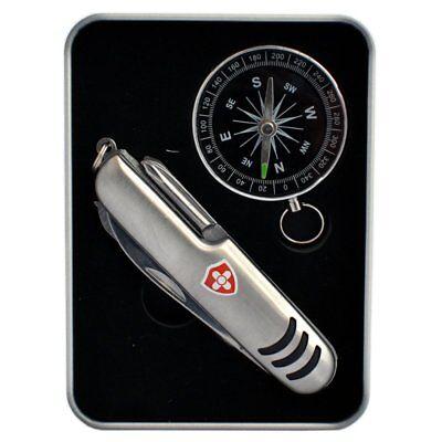 Coltellino Multifunzione 11in1 | Borse Coltello Bussola | Lattina Di Metallo-l | Handtaschenmesser Kompass | Metalldose It-it