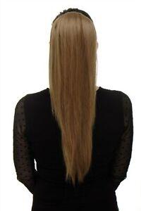 Postiche-Volumineux-Lisse-Tresse-Clip-Mini-Papillon-Blond-Miel-60cm-WK06-15
