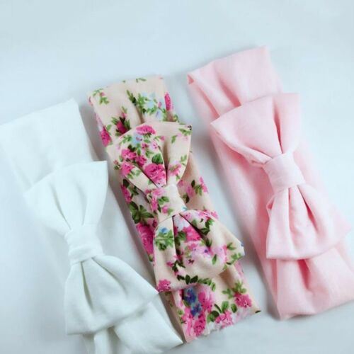 3x New Headband Cotton Elastic Baby Print Floral Hair Band Girls Bow-knot//SS