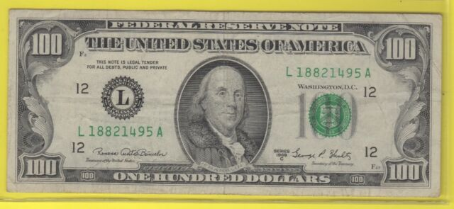 1969C (L)  FEDERAL RESERVE NOTE ONE HUNDRED DOLLAR BILL...FINE++..$100.00...495