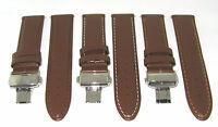 18-19-20-22-24mm Leather Watch Band Strap Smooth Clasp For Corum L/brown 2