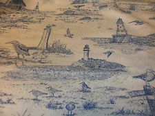 Nautical Fabric Sandpiper Toile Blue & White Lighthouses Beach Gulls Sewing BTY
