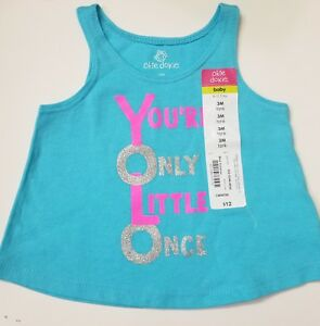 21003887e NEW Infant Girl s Okie Dokie Blue Tank Top Graphic Design Size 3 ...