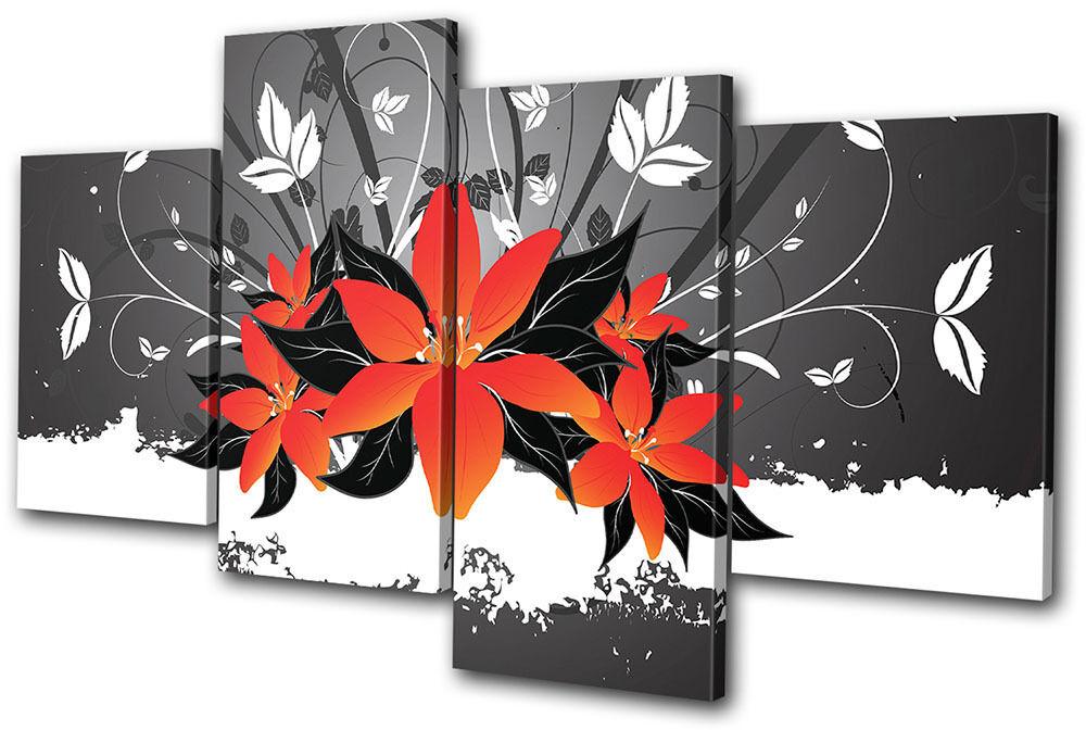 Floral Abstract Flowers MULTI Leinwand Wand Kunst Bild drucken