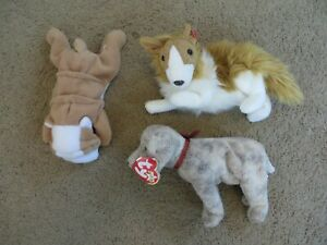 SO CUTE Ty Beanie Babies lot of 3 dogs - Wrinkles pug, Cassie collie, Tricks dog