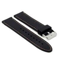Strapsco Waterproof Rubber Watch Diamond Texture Black Strap W/ White Stitching