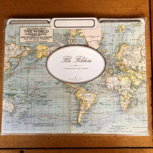 Cavallini Papers /& Co World Map Heavyweight File Folders Set of 12 - NEW