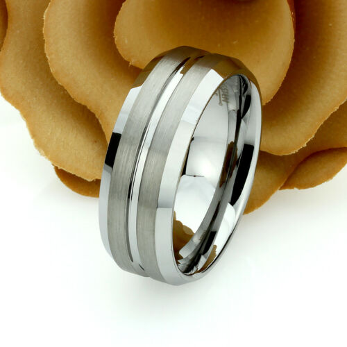 Grooved Center Brushed Tungsten ring Set 9mm 7mm Tungsten Wedding Band Set