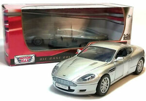 Aston-MARTIN-DB9-COUPE-1-24-scala-in-Metallo-Diecast-Modello-Auto-giocattolo-in-miniatura-argento
