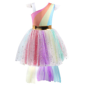 e8a41da14bc9c Details about Birthday Party High Low Tutu Dress Rainbow Unicorn Flower  Girl Dresses for Kid
