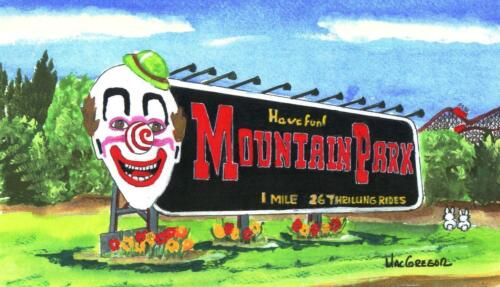 MOUNTAIN PARK ART PRINT Holyoke MA Amusement Carnival Midway Mt Tom Clown Gift
