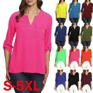 Womens-3-4-sleeve-Chiffon-Shirt-Casual-Blouse-Top-Ladies-Work-T-Shirts-Tee-Tops