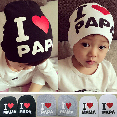 UK/_ Infant Baby Beanie Cap Boy Girl Toddler I Love Papa Mama Cotton Blend Hat Ey