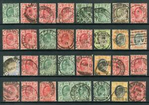 South-Africa-Postmarks-on-EDVII-Transvaal-Stamps-Approx-30-pmks
