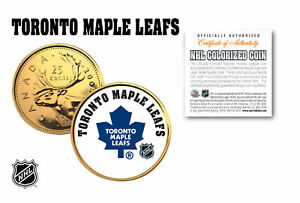 TORONTO-MAPLE-LEAFS-NHL-Hockey-24K-Gold-Plated-Canadian-Quarter-Coin-LICENSED