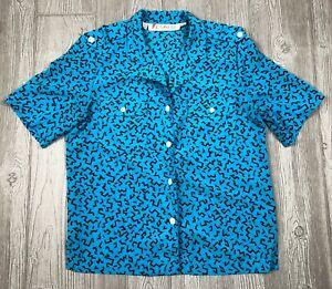 VTG-Chaus-Women-039-s-Shirt-Top-Blouse-Blue-Size-10