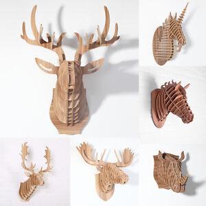 3d troph e wand deko mdf geweih einhorn nashorn pferd elch hirsch jagd iwood ebay. Black Bedroom Furniture Sets. Home Design Ideas
