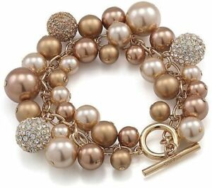 Carolee-Faux-Pearl-Cluster-Bracelet-NWT-85