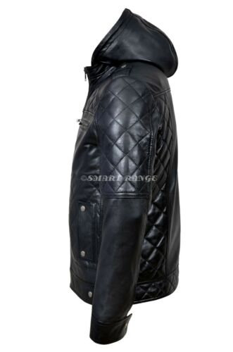 Napa pelle Designer Giacca uomo in Bikers Hooded da Stylish Real Black Alaska Casual HwwP8q
