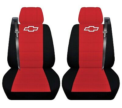 Truck Seat Covers 2004 Chevy Silverado Black Red Front