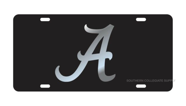 UNIVERSITY OF ALABAMA Crimson Tide Black Mirrored License Plate / Car Tag