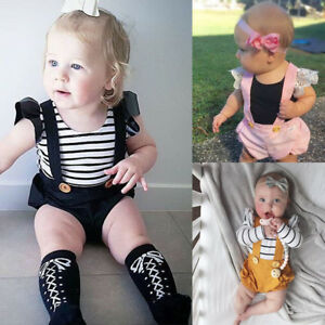 69b8888f501 Image is loading Cute-Toddler-Baby-Girl-Overalls-Romper-Jumpsuit-Bodysuit-