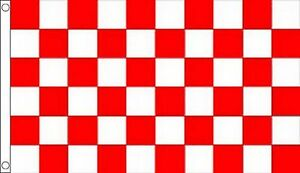 Red and White Check Checkered 8'x5' Flag
