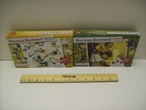 """Lot 2 2 Norman Rockwell Jigsaw Puzzles New 500 Pieces each 18.25/""""x 11/"""""""