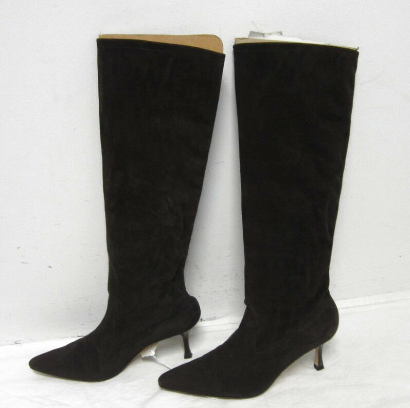 compra nuovo economico MANOLO BLAHNIK tall dark Marrone Marrone Marrone suede heel stivali sz 37.5 7.5 WOW   tempo libero