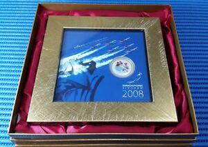 2008-Singapore-RSAF-Black-Knights-999-Fine-Silver-Brilliant-Medallion-with-Frame